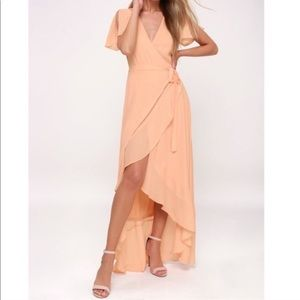 Lulu's magical moment Blush Wrap Maxi Long Dress